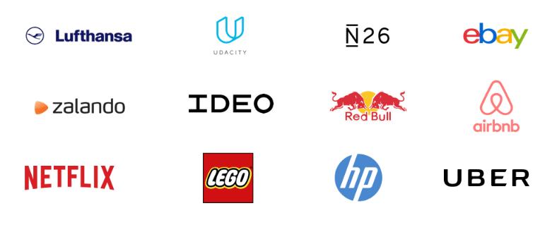 Na imagem vemos os logos das empresas que adotam o Design Sprint, entre elas: Ebay, Red Bull, Airbnb, Netflix, Lego, HP e Uber.