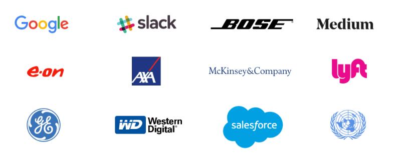 Na imagem vemos os logos das empresas que adotam o Design Sprint, entre elas: Google, Slack, Bose, Medium.