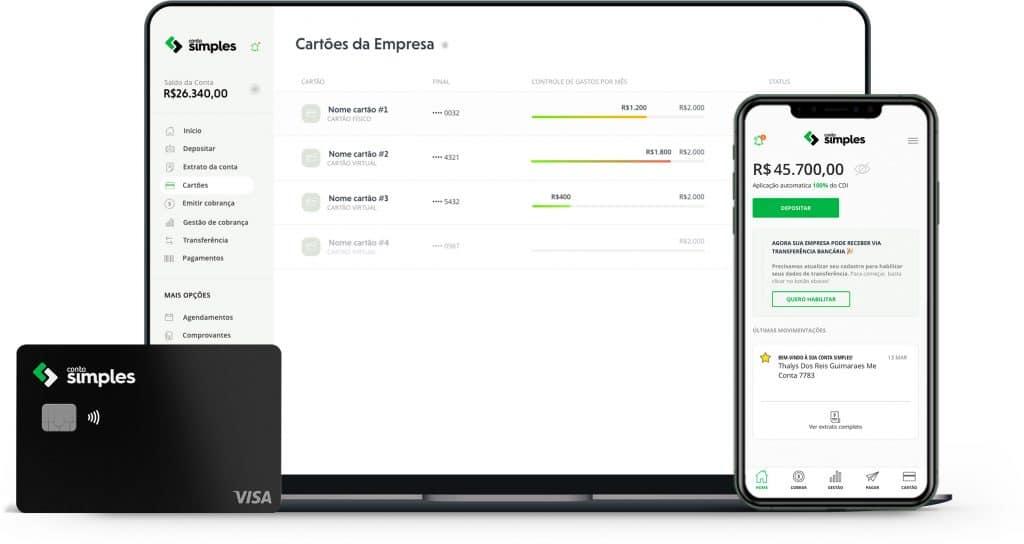 Imagem mostra um notebook, um cartão de credito e um celular